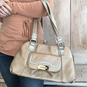 Tignanello Metallic Silver Gold Handbag Leather